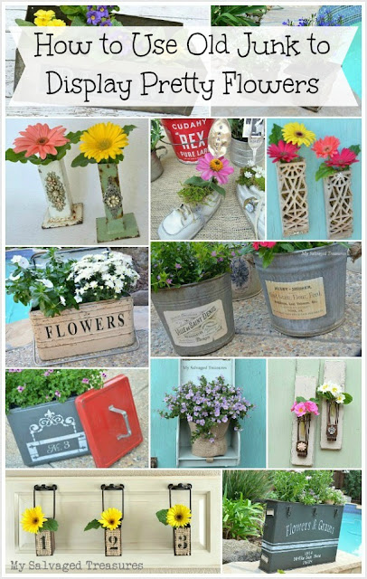 twelve trash treasure ideas for using old junk to display pretty flowers