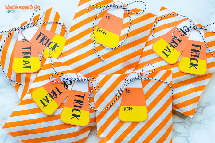Free Printable Candy Corn Gift Tags | These fun Halloween tags are made with the iconic fall treat in mind! Four designs available.