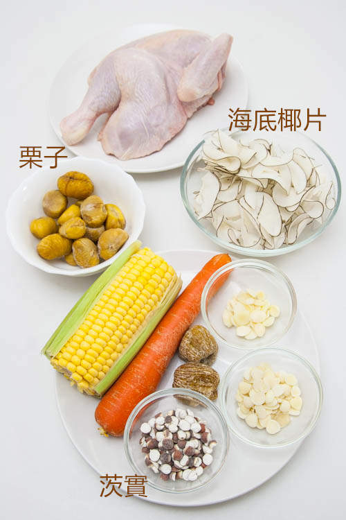 海底椰雞湯材料 Sea Coconut and Chicken Soup Ingredients