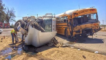 big rig tank truck school bus orange center elementary fresno crash central elm avenue