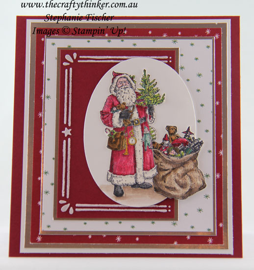 Christmas Card, Father Christmas, Layered card, Cardfront Builder, Xmas Card, #thecraftythinker, Stampin' Up Australia Demonstrator, Stephanie Fischer, Sydney NSW