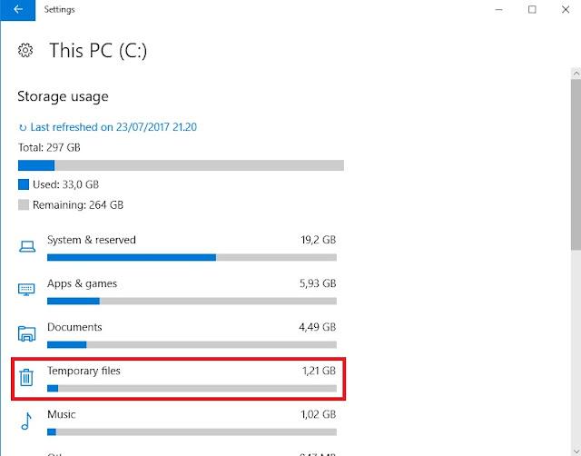 Settings Storage Temporary Files Windows 10