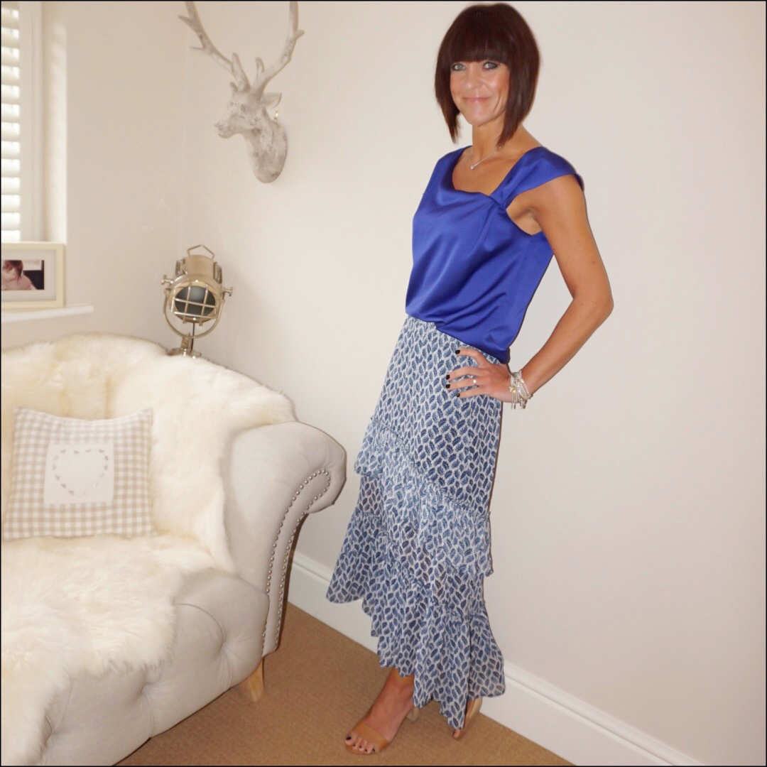 my midlife fashion, reverie clothing brand royal blue sating top, hm patterned maxi skirt, next tan block heel sandals