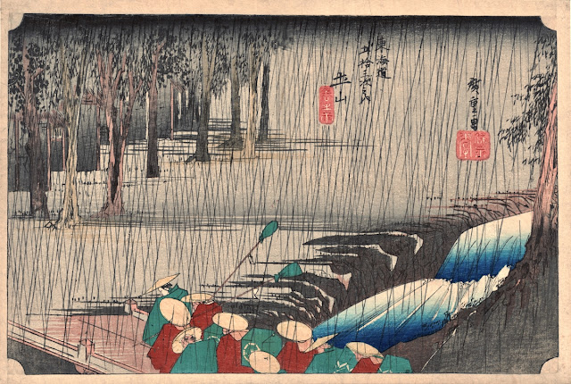 Hiroshige, 53 Stations of the Tokaido Road, Spring Rain