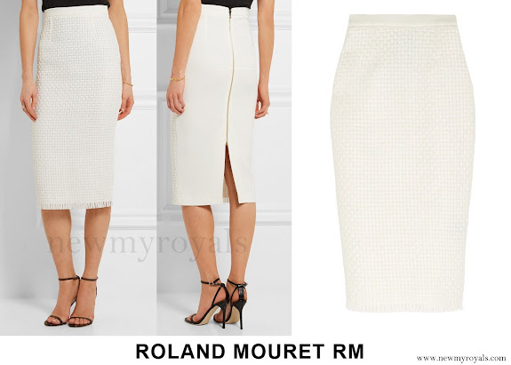 Princess Charlene wore ROLAND MOURET Arreton lattice weave and crepe pencil skirt
