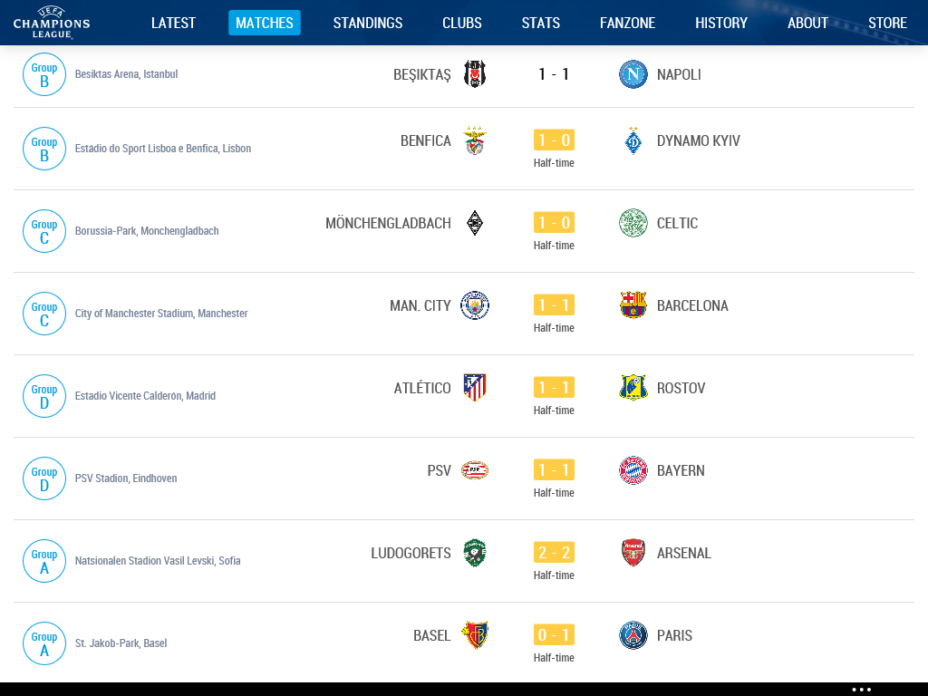 UEFA Champions League Match Day FULL TIME Results St November - Uefa champions league fixtures table