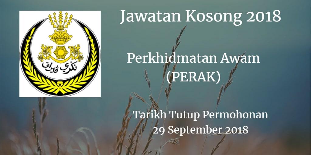 Jawatan Kosong Perkhidmatan Awam (PERAK) 29 Spetember 2018