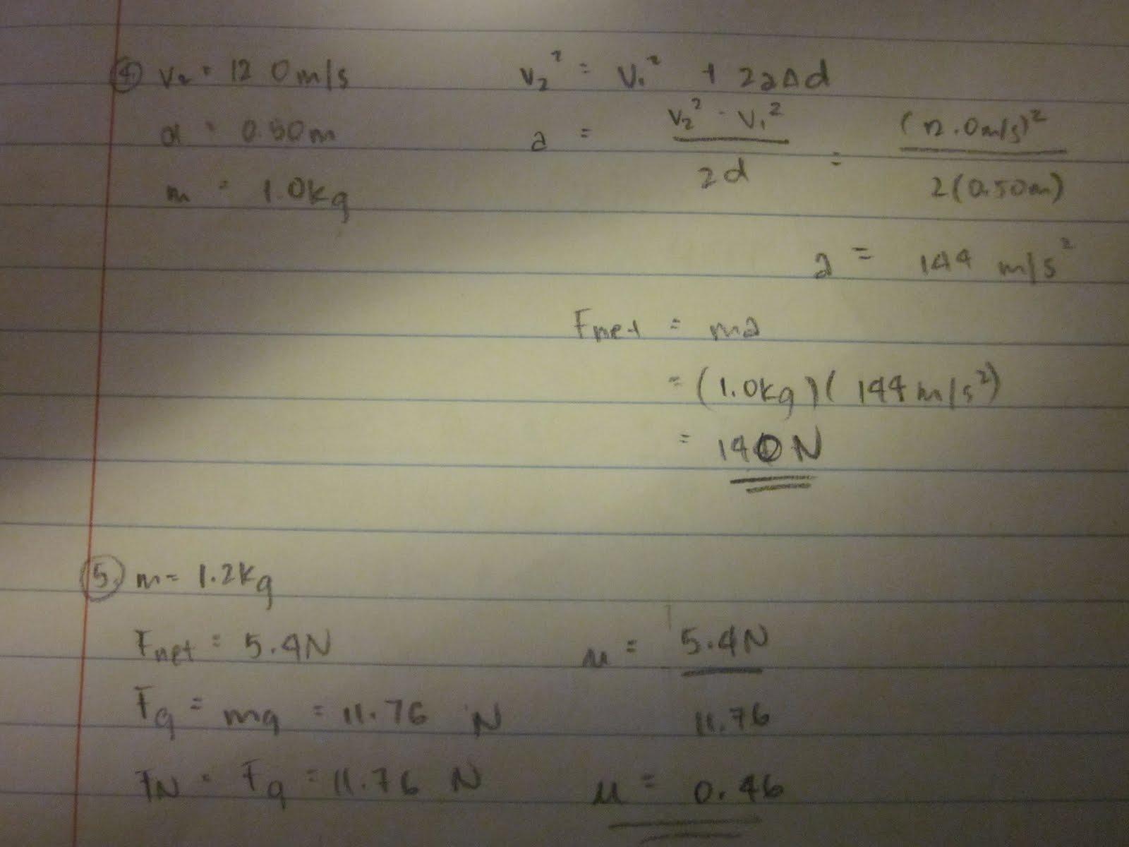 Physics Dynamics Worksheet