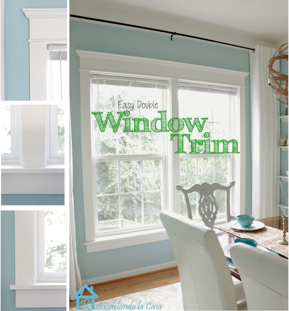 My dining room makeover was done a couple of months ago. It began with a pair of painted chairs and ended up with a whole room face-lift. The window trim ... & How to Install Trim on a Double Window - Remodelando la Casa