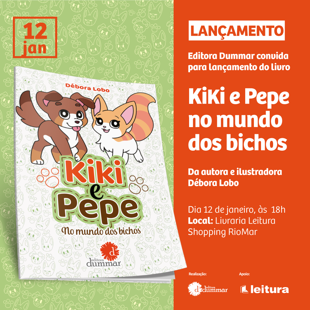 c69c794960 Débora Lobo lança livro  Kiki e Pepe no Mundo dos Bichos