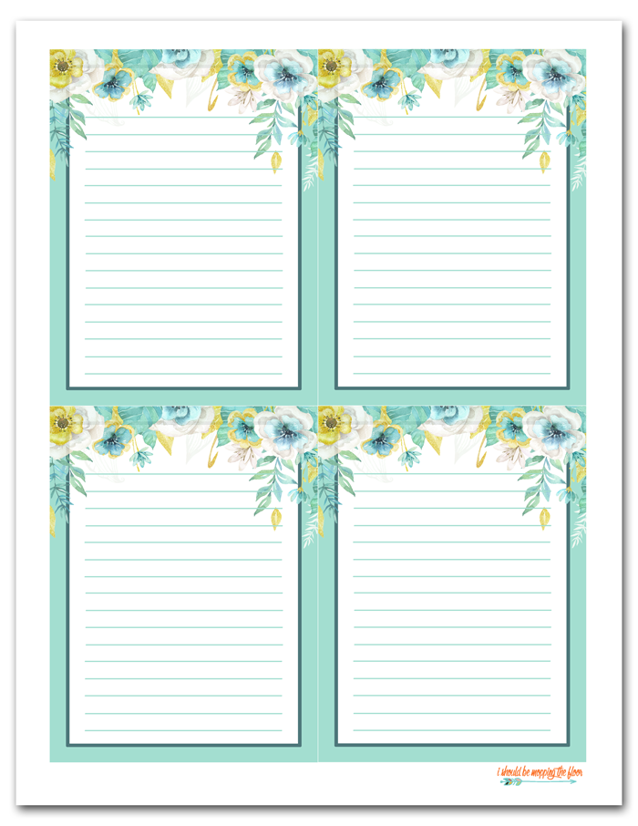Free Printable Floral Gift Tags and Coordinating Lined Note Cards