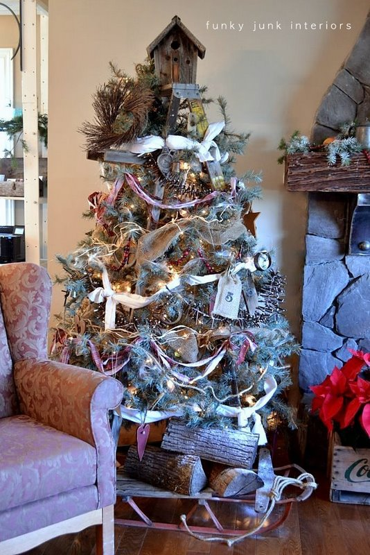 christmas stepladder tree via funky junk interiors