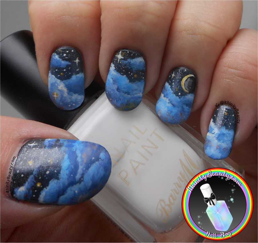 Freehand Starry Nights Sky Nail Art Ithinitybeauty Nail Art Blog