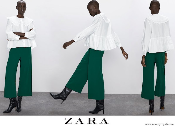 Kate Middleton wore ZARA High waist wide-leg trousers