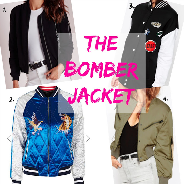 Bomber Jackets. SS 16 trends, Miss guided, Vintage style bomber jacket from Topshop, Asos bomber jacket with badges