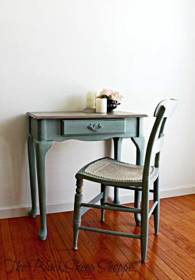 The desk is painted in Duck Egg Blue and Coco. The chair is also painted in Duck Egg with Old Ochre.