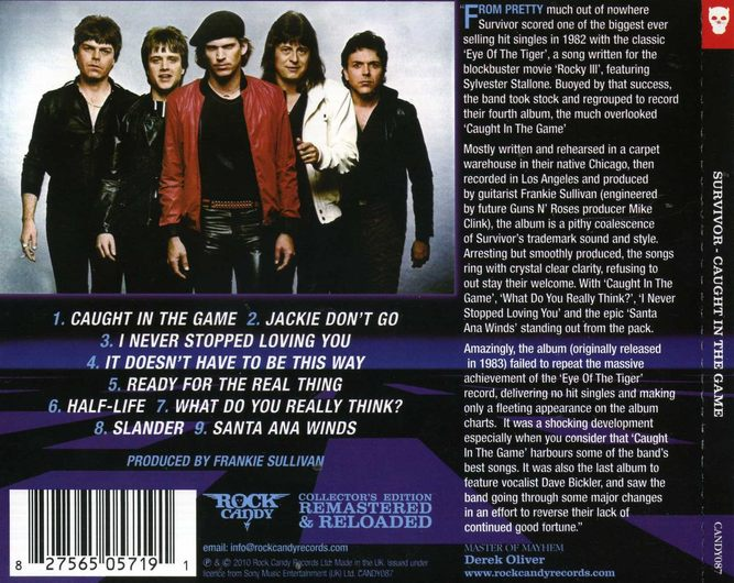 SURVIVOR - Caught In The Game [Rock Candy Remastered & Reloaded] back