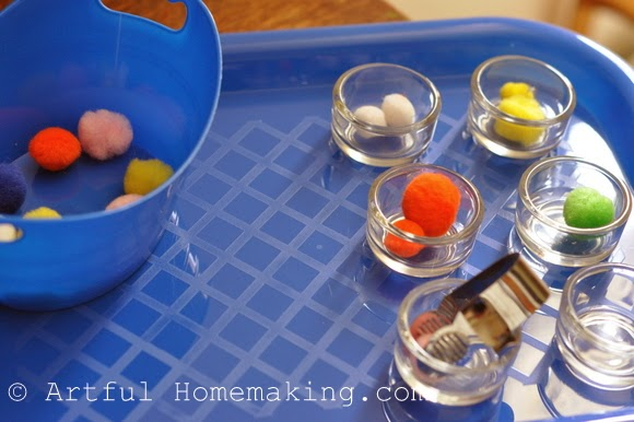 Fine Motor Coordination: Keeping Little Ones Hands Busy. fine motor activity with tongs and pompoms