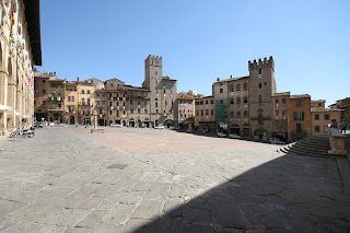 The distinctive, sloping Piazza Grande is a feature of Arezzo