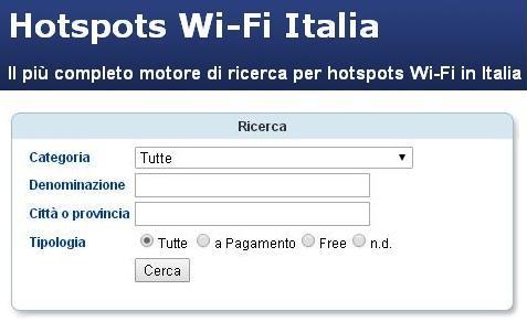 motore di ricerca hotspot pubblici e privati gratuiti in italia per navigare gratis