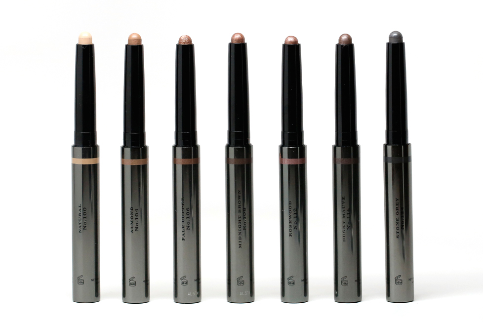 35e685c22574 These come in a luxurious metallic gunmetal pen-style tube (reminding me of  their Face Contour Pens) with a strip of coordinating color beneath the cap  so ...
