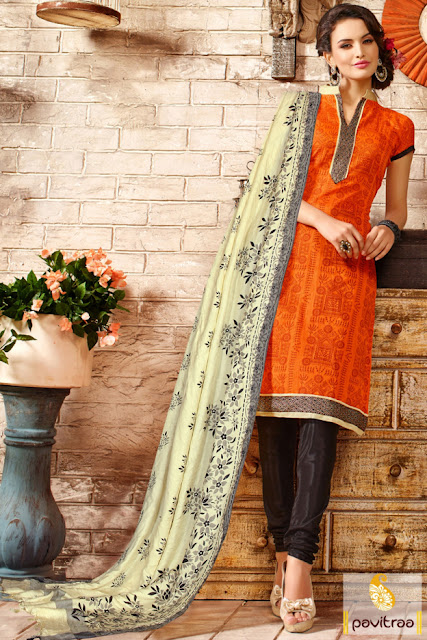 Diwali special orange cream color cotton chanderi casual salwar suit at lowest price in India
