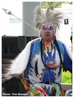 Native American Fancy Dancer Larry Yazzie | Seven Springs | Navy Pier in Chicago | Photo by Tom Bowser