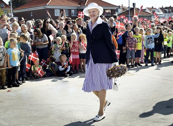 Queen Margrethe of Denmark visited the island of Bornholm in Roenne. Style of Queen Margrethe, fashion, mode