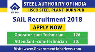 SAIL Recruitment 2018 Technician 156 various post