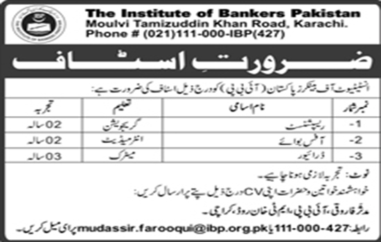 IBP Jobs In The Institute Of Bankers Pakistan Karachi 21 May 2017