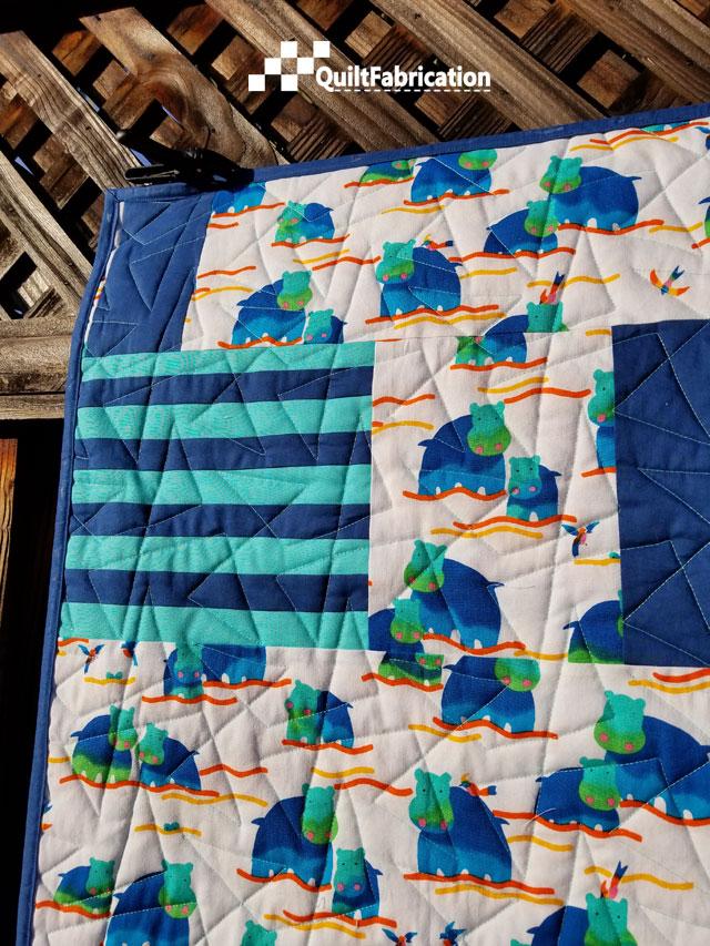 Hippo Blue quilt backside closeup