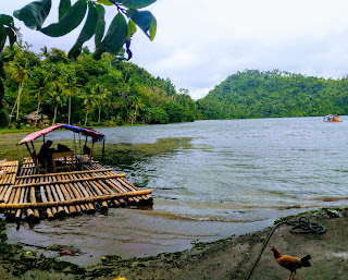 Sampaloc lake with balsa