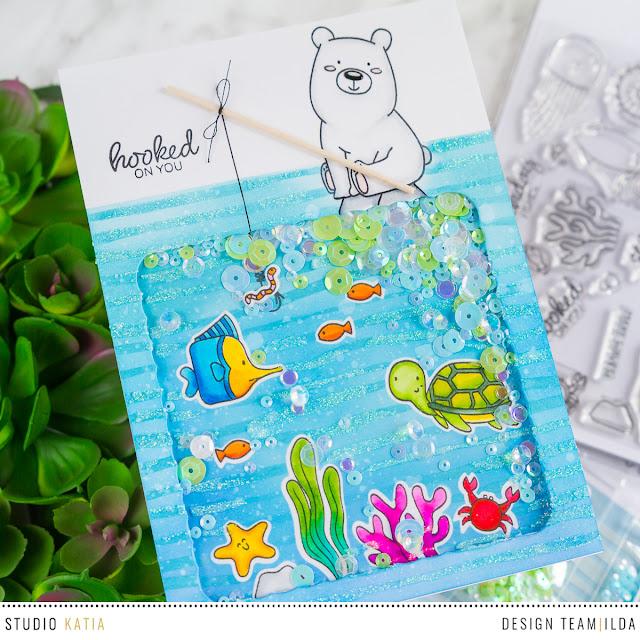 Kobi Bear Goes Fishing Shaker Card by ilovedoingallthingscrafty