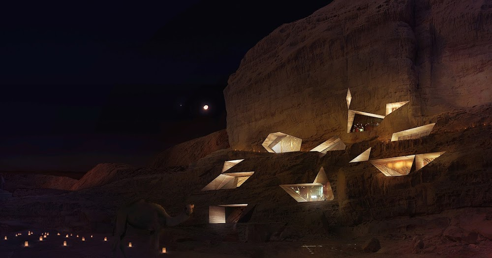 Mars colony style resort at Wadi Rum by Chad Oppenheim (night)
