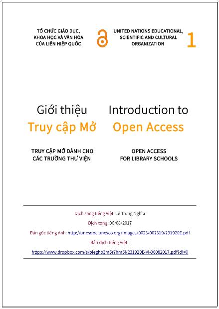 'Giới thiệu truy cập mở' - bản dịch sang tiếng Việt