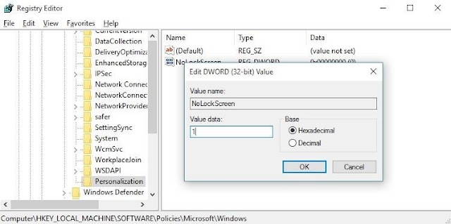 Menggunakan Registry Editor untuk Menonaktifkan Layar Kunci - 7