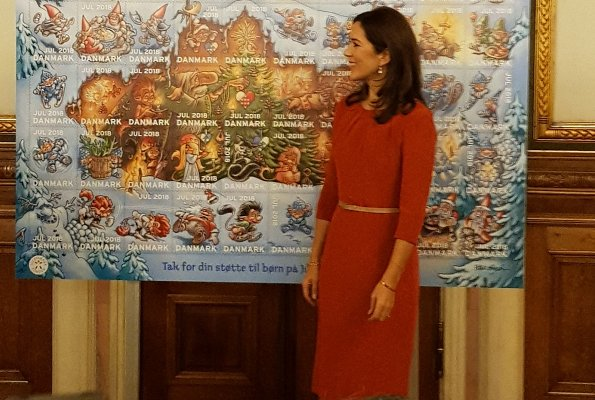 Crown Princess Mary wore Signe Bøgelund-Jensen Present Neck layer dress, Prada nude pointed toe pumps, Naledi Copenhagen Allana clutch