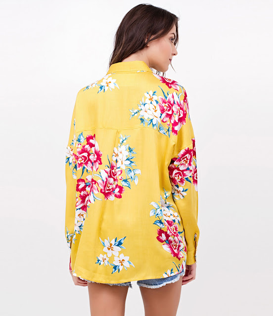 Moda feminina Camisa Floral