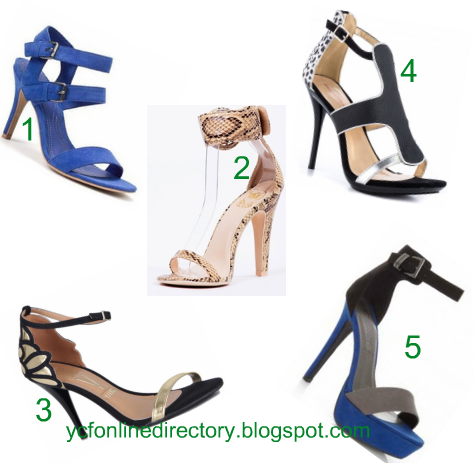 354a35eb6c67 Snake print buckle heels 3. Gold and Black Fancy Heeled Sandal 4. Pilotto  ankle strap 5. Blue Grey Colour Block Sandals