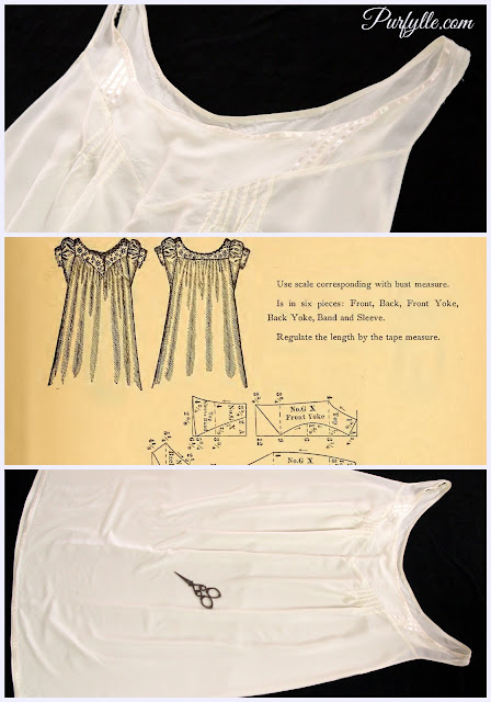 1888 Chemise with satin ribbon trim and pin tuck details - sleeveless