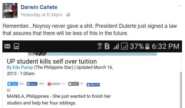 During Noynoy's term, a college student kills herself because of unpaid tuition
