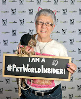 Teri and Coco, the Couture Cat, at a BlogPaws Conference