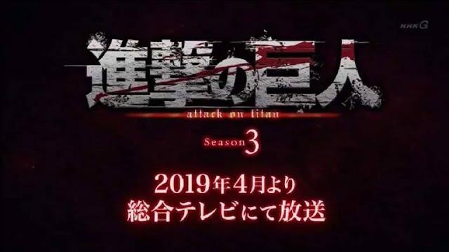 Attack on Titan Season 3 delayed until April 2019