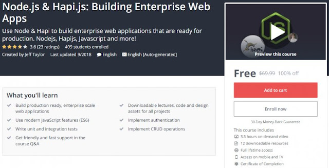 [100% Off] Node.js & Hapi.js: Building Enterprise Web Apps| Worth 69,99$