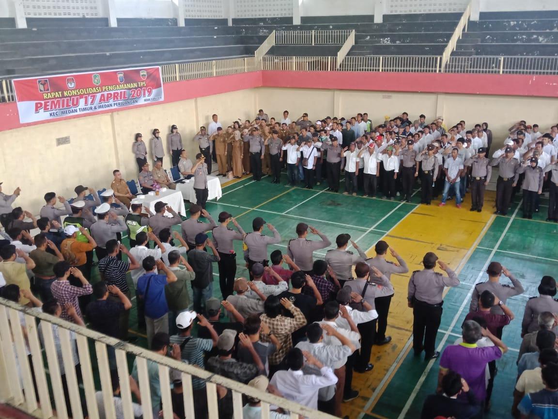 APEL:Apel konsolidasi pengamanan TPS pada Pemilu 17 April 2019 oleh Polsek Medan Timur