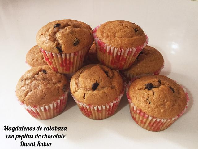 Magdalenas de calabaza con pepitas de chocolate