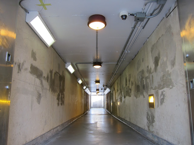 Pedestrian tunnel beneath the rail tracks at Lawrence East station