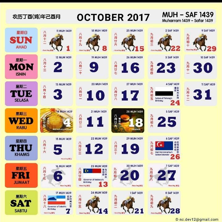 Kalendar Kuda 2017 Malaysia oktober 2017