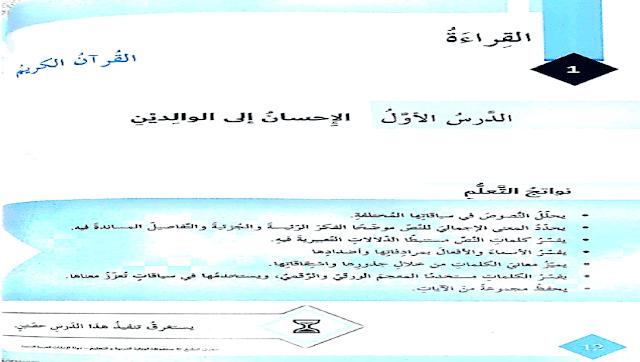 حل درس الاحسان الي الوالدين في اللغة العربية للصف السادس الفصل الدراسي الاول