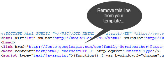 Google fonts call in the header